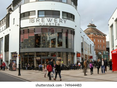 Cheltenham, England - October 2017: Wide angle view of the Brewery Quarter development in the city centre
