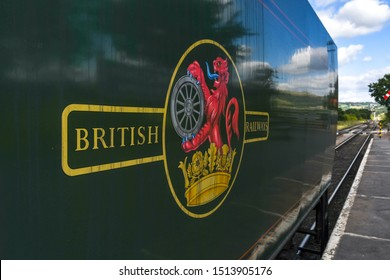 CHELTENHAM, ENGLAND - SEPTEMBER 2019: Close up of the original British Railways logo on the tender of the Peninsular and Oriential steam locomotive on the Gloucestershire & Warwickshire Steam Railway