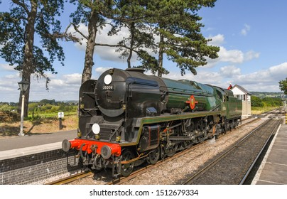 CHELTENHAM, ENGLAND - SEPTEMBER 2019: The Peninsular and Oriential steam locomotive at Cheltenham Racecourse Station on the Gloucestershire and Warwickshire Steam Railway.