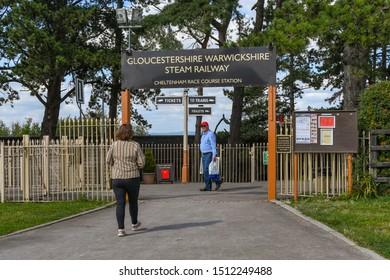 CHELTENHAM, ENGLAND - SEPTEMBER 2019: Person entering the Cheltenham Racecourse Station on the Gloucestershire and Warwickshire Steam Railway.