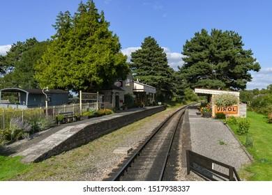 CHELTENHAM, ENGLAND - SEPTEMBER 2019: The scenic Gotherington Halt on the Gloucestershire and Warwickshire Steam Railway.