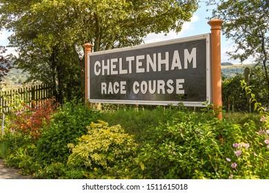 CHELTENHAM, ENGLAND - SEPTEMBER 2019: Sign on the platform of Cheltenham Racecourse Station on the Gloucestershire and Warwickshire Steam Railway.