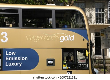 Cheltenham, Gloucestershire, England, UK. 14 May 2018. A Stagecoach gold double decker park and ride bus in town.