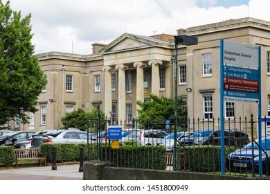 Cheltenham Gloucestershire UK 15th JULY 2019 Cheltenham General Hospital entrance