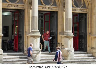 Cheltenham Gloucestershire UK 15th JULY 2019 The entrance steps to the Public Lending Library in Cheltenham Town Centre
