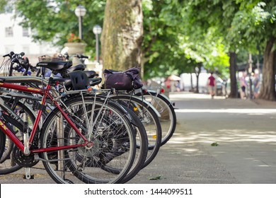 Cheltenham Gloucestershire UK 5th JULY 2019 Sustainable Transport - Bicycles locked in bicycle rack in town centre