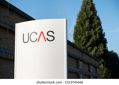 Cheltenham, Gloucestershire, UK, Feb 2019. Images of the UCAS sign outside the main entrance of UCAS in Cheltenham.