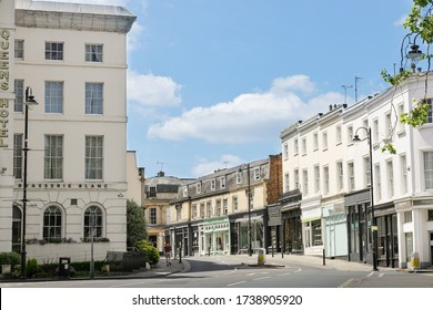 Cheltenham Gloucestershire UK May 21st 2020 Montpellier shopping area and Brasserie Blanc restaurant