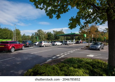 Cheltenham Gloucestershire UK September 24 2021 Panic Buying at Petrol Stations in Cheltenham