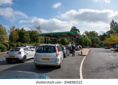 Cheltenham Gloucestershire UK September 26 2021 Fuel shortage and Panic Buying at Petrol Stations in Cheltenham