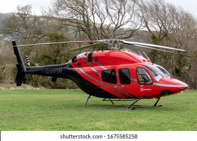 Cheltenham Racecourse Heliport, EGBC, Gloucestershire, England, 13th March 2020, G-HPIN a Bell 429 Global Ranger has a day at the races.