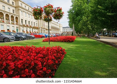 Cheltenham Town, Gloucestershire, UK, August 7th, 2018, a view of the manicured lawns and beautifully maintained flower gardens outside the Municipal Offices along the Promenade.