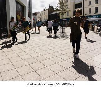 Cheltenham, UK - 08/23/2019: General Public in Brewery Quarter