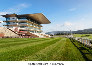 Cheltenham, UK: September 15, 2018: The stands overlooking Cheltenham Racecourse located at Prestbury Park. The first organised Flat race meeting in Cheltenham took place in 1815 on Nottingham Hill.