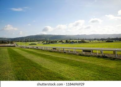 Cheltenham, UK: September 15, 2018: Cheltenham Racecourse - landscape in the early morning.