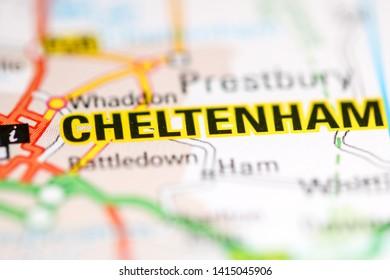 Cheltenham. United Kingdom on a geography map