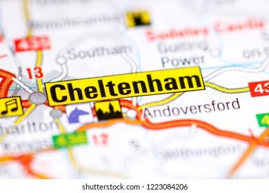 Cheltenham. United Kingdom on a map