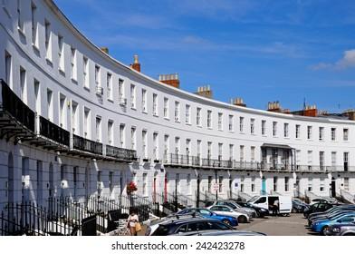 CHELTENHAM, UNITED KINGDOM - SEPTEMBER 8, 2014 - The Royal Crescent buildings, Cheltenham, Gloucestershire, England, UK, Western Europe, September 8, 2014.