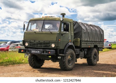 Chelyabinsk region, Russia - July 10, 2017: Off-road army truck KAMAZ 43501 Mustang at the countryside.
