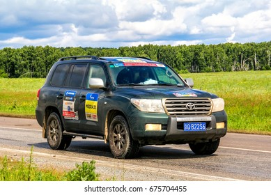 CHELYABINSK REGION, RUSSIA - JULY 10, 2017: Assistance car Toyota Land Cruiser 200 No. Media-33 takes part in the annual Rally Silkway - Dakar Series.
