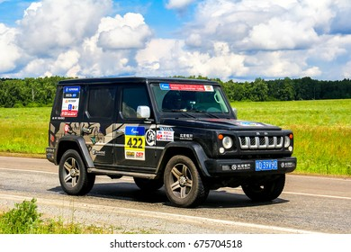 CHELYABINSK REGION, RUSSIA - JULY 10, 2017: Assistance car BAIC BJ80 No. 422 takes part in the annual Rally Silkway - Dakar Series.