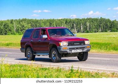 Chelyabinsk region, Russia - July 11, 2016: Motor car Toyota Hilux Surf at the interurban road.