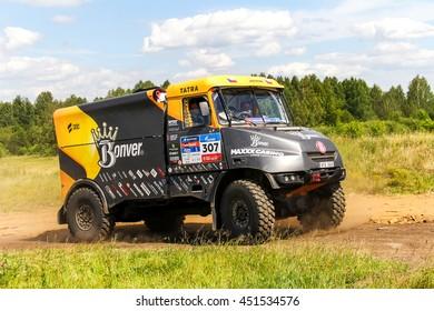 CHELYABINSK REGION, RUSSIA - JULY 11, 2016: Sports truck Tatra Jamal of the Team Bonver Dakar Project No. 307 competes in the annual Rally Silkway - Dakar Series.