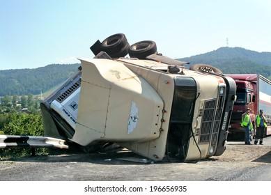 CHELYABINSK REGION, RUSSIA - JULY 19, 2008: Hard truck crash at the freeway.