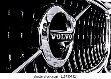 CHELYABINSK, RUSSIA - 01 May 2018: Volvo logo, close-up. Swedish luxury vehicle manufacturer established in 1927 . black and white. monochromatic background.