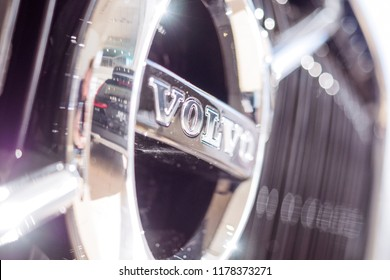 CHELYABINSK, RUSSIA - 01 May 2018: Volvo logo, close-up. Swedish luxury vehicle manufacturer established in 1927 and headquartered in Gothenburg, Sweden.