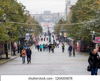 CHELYABINSK, RUSSIA: 10 October 2018 - the main pedestrian street of the city of Chelyabinsk along which residents and guests of the city walk. Chelyabinsk Arbat. Kirova street