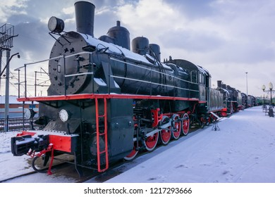 Chelyabinsk / Russia - 10.31.2018: The locomotive of the train. The number shows the model of the locomotive.
