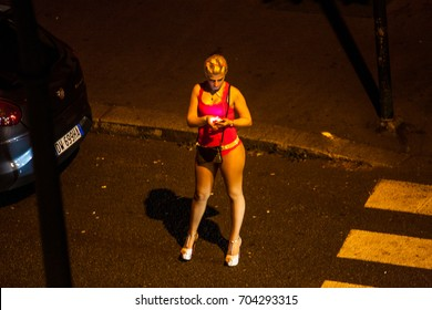 CHELYABINSK, RUSSIA - 23 AUGUST 2017. Prostitute waiting for client on the street. Turin. Italy.