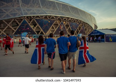 CHELYABINSK, RUSSIA - 25 June 2016: Unidentified Icelandic fans go to see the football stadium of the match of the EURO 2016 at a stadium in Nice, France. It was the best time for Iceland team.