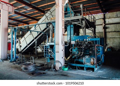 Chelyabinsk / Russia - April 6, 2017: trash in waste processing plant
