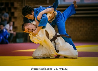 Chelyabinsk, Russia -  December 20, 2015: final match between two young athletes judoists during All-Russian competition on judo of memory Grigory Verichev