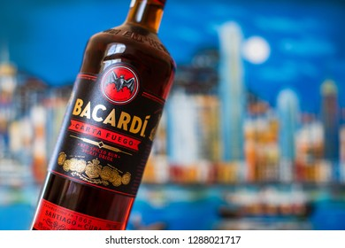 Chelyabinsk, Russia - January 18, 2019: Bootle of Bacardi Rum - Carta Fuego. red spiced rum from Cuba