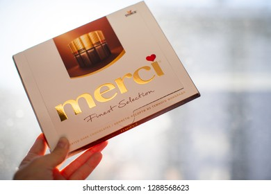 Chelyabinsk, Russia - January 18, 2019: Merci chocolate - brand of chocolate candy manufactured by the German company August Storck, sold in more than 70 countries