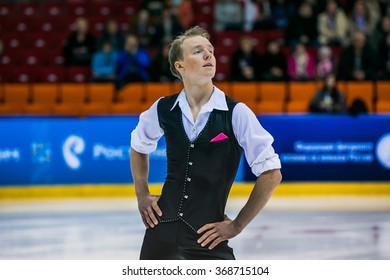 Chelyabinsk, Russia -  January 21, 2016: closeup of a young figure skater male during Championship of Russia figure skating juniors