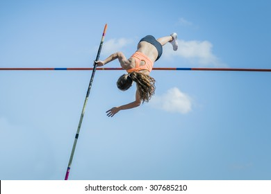 Chelyabinsk, Russia - July 24, 2015: Girl athletes pole vault during National competitions in memory of G. I. Nicewhen athletics