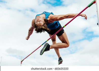 Chelyabinsk, Russia - July 7, 2017: successful attempt high jump male athlete during Ural Championship in athletics