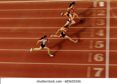 Chelyabinsk, Russia - July 7, 2017: blurred motion finish of race athlete runners during Ural Championship in athletics