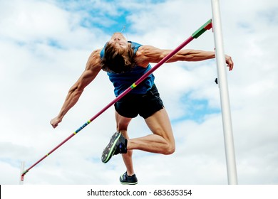 Chelyabinsk, Russia - July 7, 2017: high jump male athlete during Ural Championship in athletics