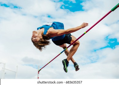Chelyabinsk, Russia - July 7, 2017: male athlete high jumper successful attempt during Ural Championship in athletics