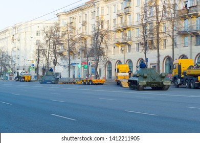 Chelyabinsk, Russia - May 2019: Tanks on Lenin Avenue are preparing for loading on trawls. The heavy tank IS-2 is preparing to drive along the gangways on the trawl