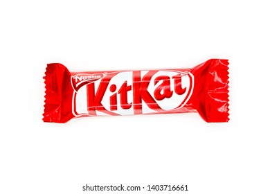 CHELYABINSK, RUSSIA -MAY 21 2019: Kit Kat chocolate bar on white background. Bars Kit Kat is produced by Nestle company.