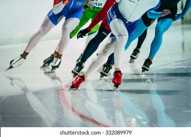Chelyabinsk, Russia - October 15, 2015: group of female speed skaters warm up before starting during Cup of Russia on speed skating