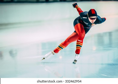 Chelyabinsk, Russia - October 15, 2015: female athlete speed skaters track runs during Cup of Russia on speed skating