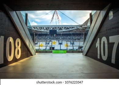CHELYABINSK, RUSSIA - October 22,2017: Arena tunnel with soccer tribune of fans. View of the interior of stadium is home of Juventus football club. Allianz Stadium new name will mark Juventus stadium.