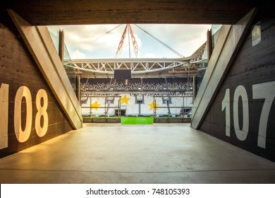 CHELYABINSK, RUSSIA - October 22,2017: Arena tunnel with soccer tribune of fans. View of the interior of stadium is home of Juventus football club. Allianz Stadium's new name will mark the Juventus.